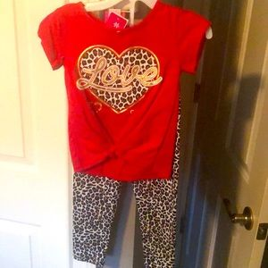 2 piece red Love outfit
